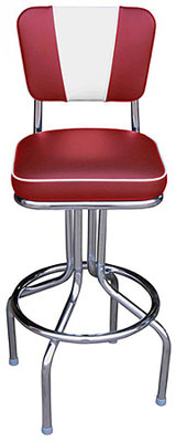 Retro Chrome Diner Chair Seat Bar Stool Red with White V Back