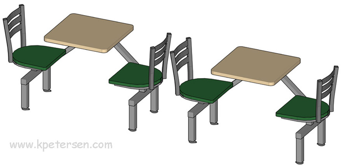 Steel Ladderback Style Cafeteria Cluster Seating Units