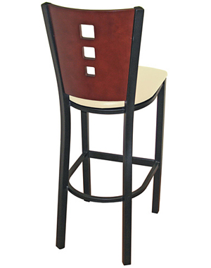 Economy Steel 3 Square Bar Stool Rear View