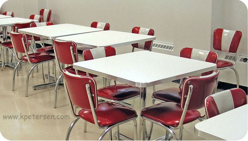 Chrome V Back Diner Chair Lunchroom Installation