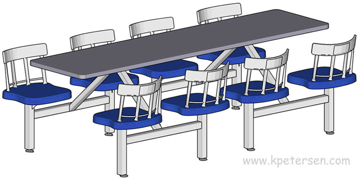 Heavy Duty Cast Aluminum Cluster Backrest Cafeteria Cluster Seating Units