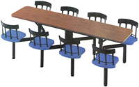 Aluminum Backrest Cafeteria Cluster Seating