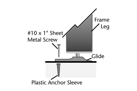 Booth Leveler Glide Diagram Detail Drawing