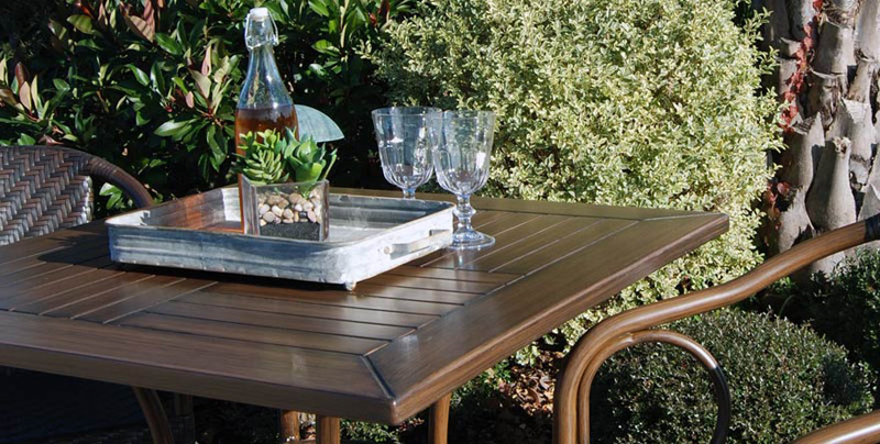 All Aluminum Outdoor Table Detail Espresso Finish