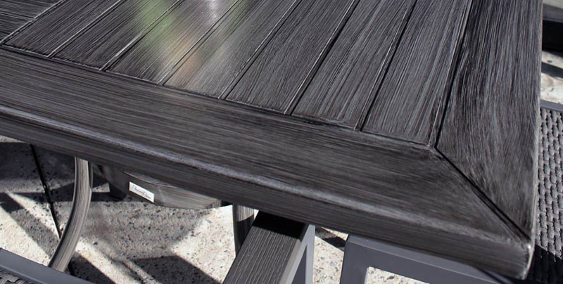 All Aluminum Outdoor Table Detail Driftwood Finish