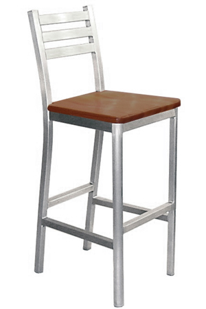 Alumaladder Aluminum Barstool With Wood Veneer Seat Side View