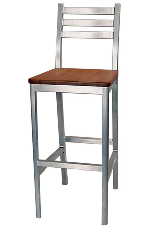 Alumaladder Aluminum Barstool With Wood Veneer Seat Front View