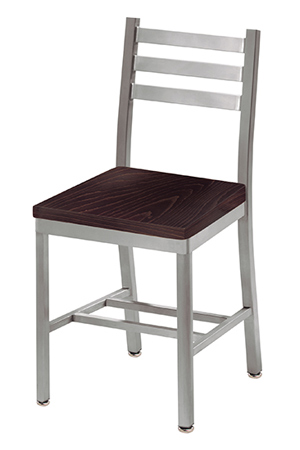Alumaladder Aluminum Chair With Wood Veneer Seat Dark Stain