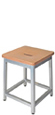 Chair Height Aluminum Activity Stool with Wood Veneer Seat