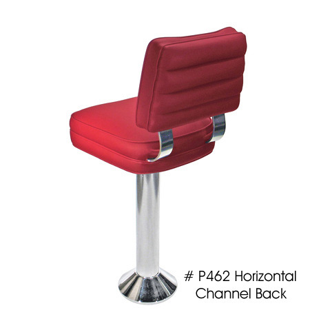 Dual Curved Tempered Aluminum Backrest Support Deluxe Floor Mounted Counter Stool Rear Detail