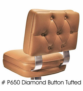 Dual Curved Tempered Aluminum Backrest Support Deluxe Floor Mounted Counter Stool Diamond Tufted Button Back