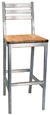 Aluminum Ladderback Bar Stool Wood Seat