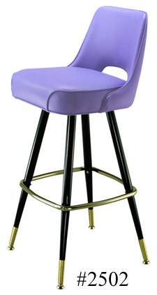 Automatic Seat Return Upholstered Club Bar Stool 2502 Plain Open Back