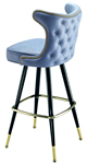 Automatic Seat Return Upholstered Club Bar Stool Retro Nail Trim Back