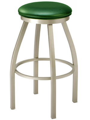 Backless Steel Swivel Seat Bar Stool Upholstered