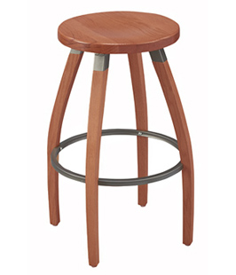 Backless Steel Swivel Seat Bar Stool Oak Seat and Oak Legs