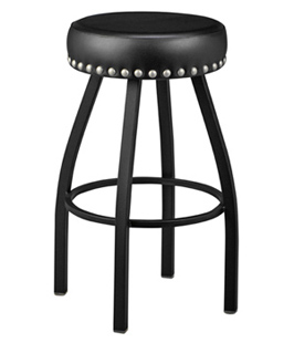 Backless Steel Swivel Seat Bar Stool Large Upholstered Nail Trim Seat
