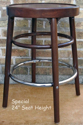 Bentwood Bar Stool Wood Veneer Seat Special 24 Inch Seat Height