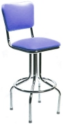 Diner Chair Seat Style Bar Stool with Chrome Pedestal Frame Made In USA