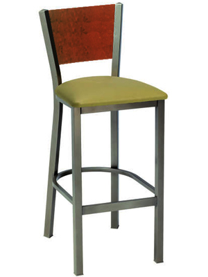 Steel Bar Stool with Wood Backrest and Upholstered Seat