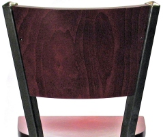Steel Bar Stool with Wood Backrest Detail