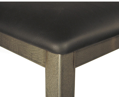 Backless Square Seat Angled Steel Stool Upholstered Seat Detail