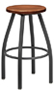 Backless Steel Swivel Stool Maple Seat Counter Height