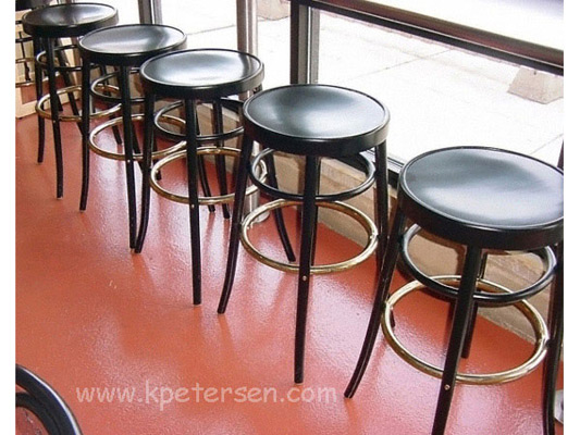Bentwood Bar Stool Black Lacquer Wood Veneer Seats