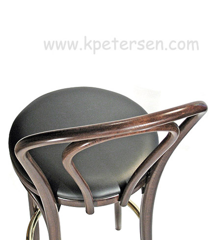 Hairpin Back Bentwood Bar Stool Upholstered Rear View Detail