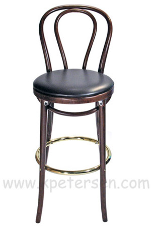 Hairpin Back Bentwood Bar Stool Upholstered Front View
