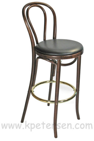 Hairpin Back Bentwood Bar Stool Upholstered SideView
