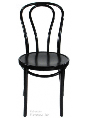 Bentwood Chair Theatrical Black Finish Front View