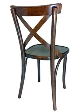 Bentwood X Back Chair, Wood Seat Rear View