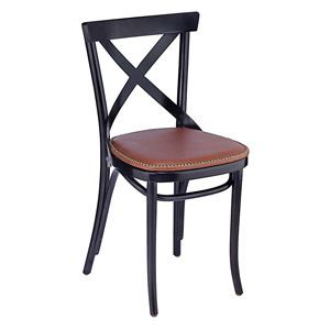 Upholstered Bentwood X Back Chair With Nail Trimmed Seat