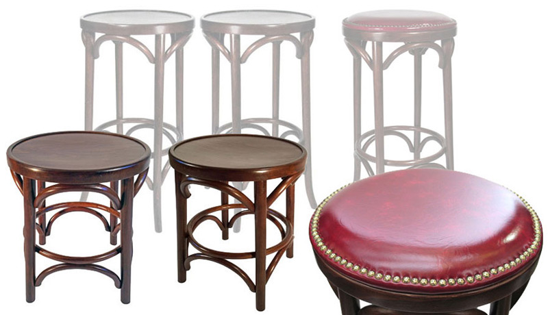 Backless Bentwood Pub Chairs and Pub Stools Shown For Comparison