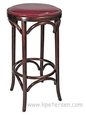 Bentwood Pub Stool Nail Trimmed Upholstered Seat