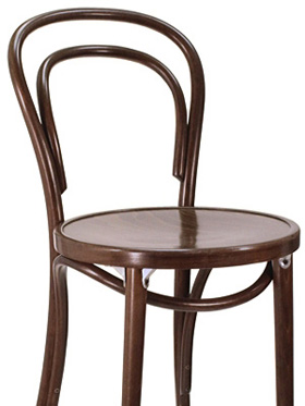 Thonet Style Bentwood Bar Stool Wood Seat Front View Detail