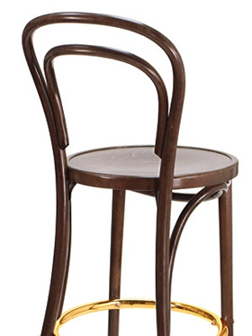 Thonet Style Bentwood Bar Stool Wood Seat Rear View Detail