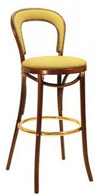 Thonet style Bentwood Bar Stool Upholstered Seat with Nail Trim Back