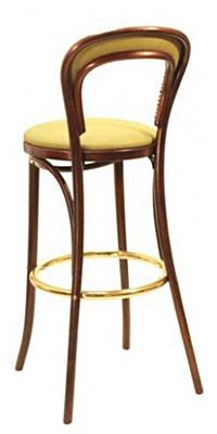 Thonet style Bentwood Bar Stool Upholstered Seat with Nail Trim Back Rear View