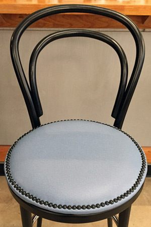 Thonet Style Bentwood Bar Stool Upholstered Nail Trim Seat Detail
