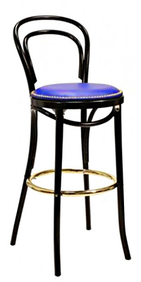 Thonet style Bentwood Bar Stool Upholstered Seat with Nail Trim