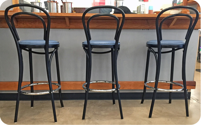 Thonet Style Bentwood Bar Stools Upholstered Nail Trim Seats Installation