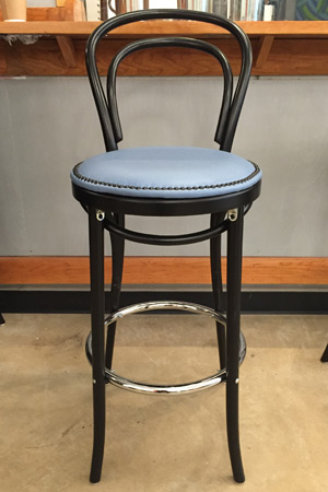 Thonet Style Bentwood Bar Stools Upholstered Nail Trim Seats Installation2