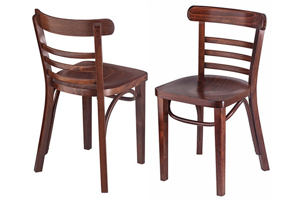 Bentwood Ladderback Restaurant Chair Rear And Front Views