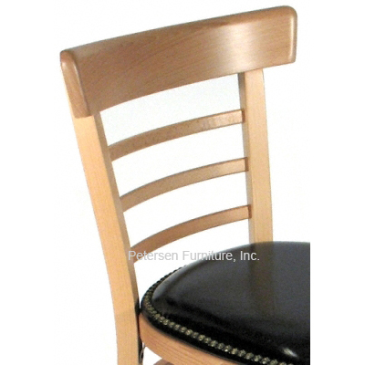 Bentwood Ladderback Restaurant Chair with Nail Trim Upholstered Seat Detail
