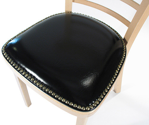 Nail Trim Upholstered Seat Detail Bentwood Ladderback Restaurant Chair