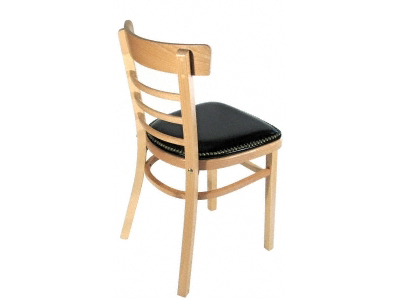 Bentwood Ladderback Restaurant Chair with Nail Trim Upholstered Seat Rear View