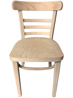 Bentwood Ladderback Restaurant Chair Raw, Unfinished Option Front View