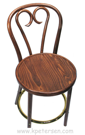 Candy Cane Bentwood Bar Stool Detail Front